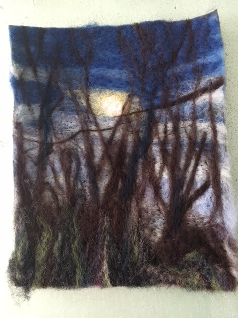 needle felted winter moon scene