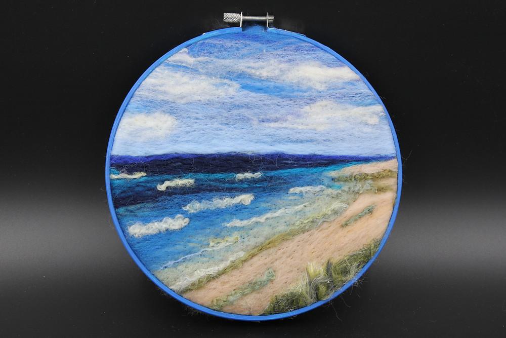"Needlefelt wool framed in 6"" embroidery hoop"