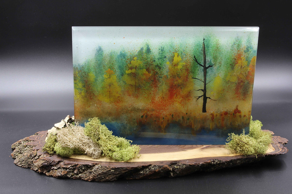Seney, fused glass with enamel paints and frit. Mounted on wood slab.