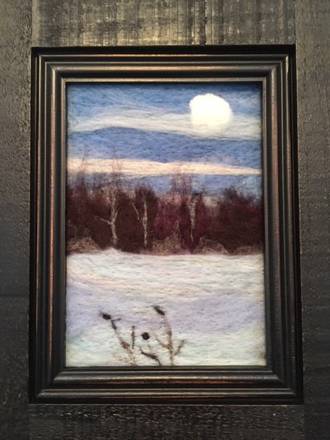 Winter Woods and a Full Moon, 2018 in mocked up frame