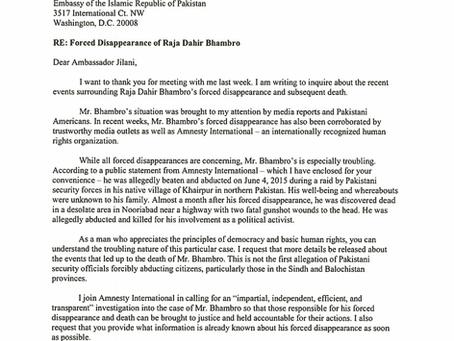 Letters From Hon. Brad Sherman Regarding Raja Dahir Bhambro