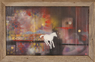 White horse running, mixed media painting on cardboard