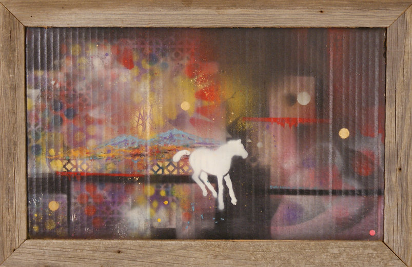 White horse painted on mixed media background and cardboard