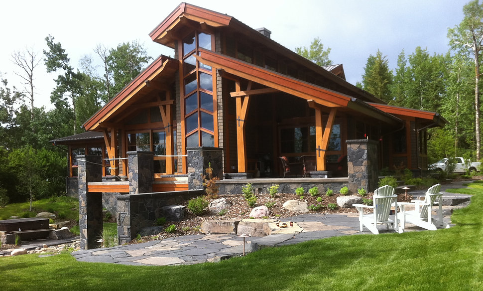Trees, Shrubs, Perennials, Rundle, Rock, Flagstone, Walkway, Grass, Sod, Flowers Nature, Natural, Lights, Lighting, Steps, Cabin