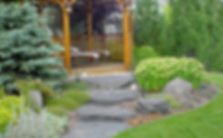 Trees, Shrubs, Perennials, Rundle, Rock, Flagstone, Walkway, Grass, Sod Flowers Nature, Natural, Lights, Lighting, Gazebo