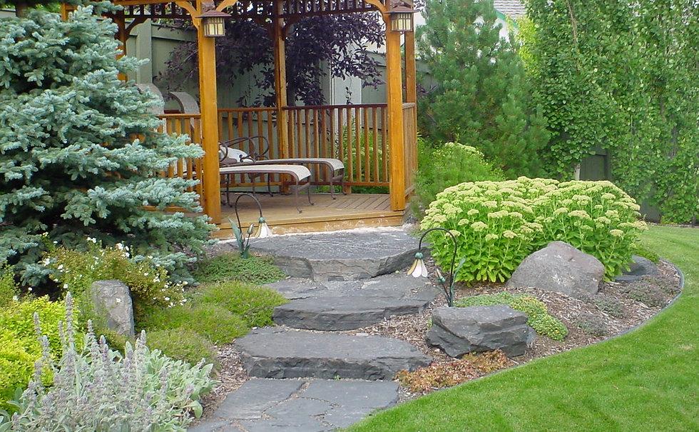 Trees, Shrubs, Perennials, Rundle, Rock, Flagstone, Walkway, Grass, Sod Flowers Nature, Natural, Lights, Lighting, Gazebo
