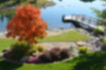 Trees, Shrubs, Perennials, Rundle, Rock, Grass, Sod, Flowers, Nature, Natural, Lights, Lighting, Creek Bed, River Bed, Lake, Dock, Fall Colour,