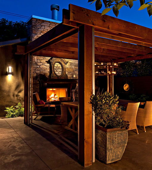 Pergola, Fireplace, Patio, Concrete, Contemporary, Modern