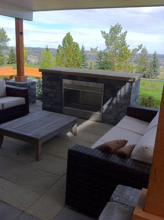 Fireplace, Seating, Patio, Paving Stone, Brick