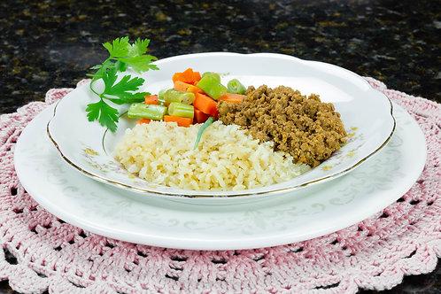Carne moída com legumes e arroz
