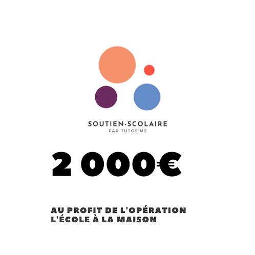"""Don de 2000€ au profit de l'action """"L'école à la maison"""""""