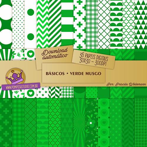 Kit papeis digitais - Coleção Básicos • Verde Musgo