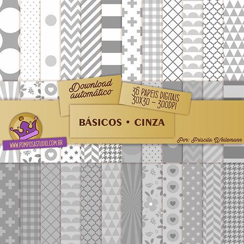 Kit papeis digitais - Coleção Básicos • Cinza