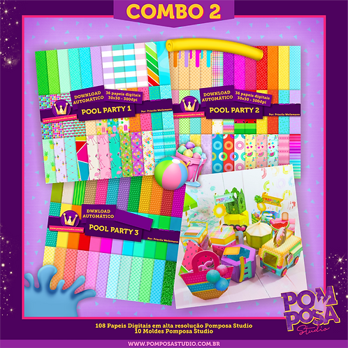 COMBO 2 Pool Paty • Moldes + Papeis