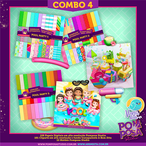 COMBO 4 Pool Paty • Cliparts + Moldes + Papeis