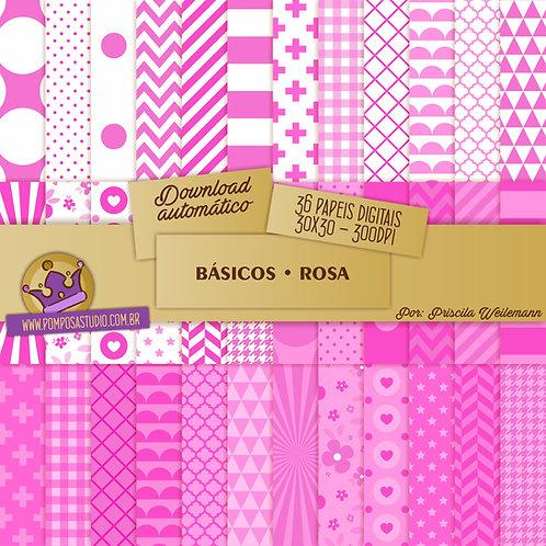 Kit papeis digitais - Coleção Básicos • Rosa
