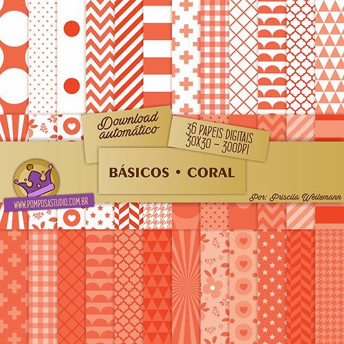 Kit papeis digitais - Coleção Básicos • Coral