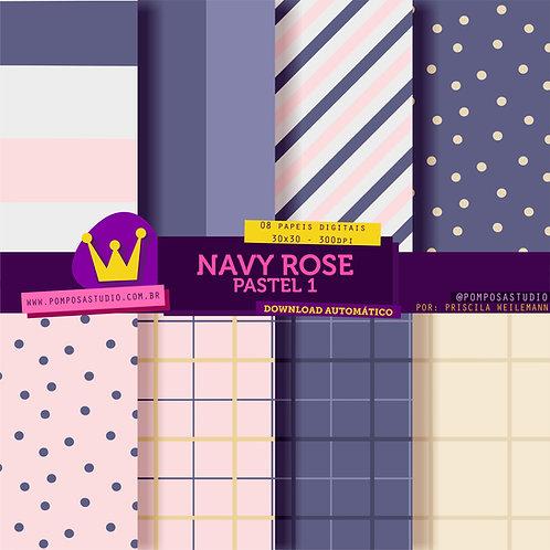 Papeis digitais - Navy Rose pastel 1