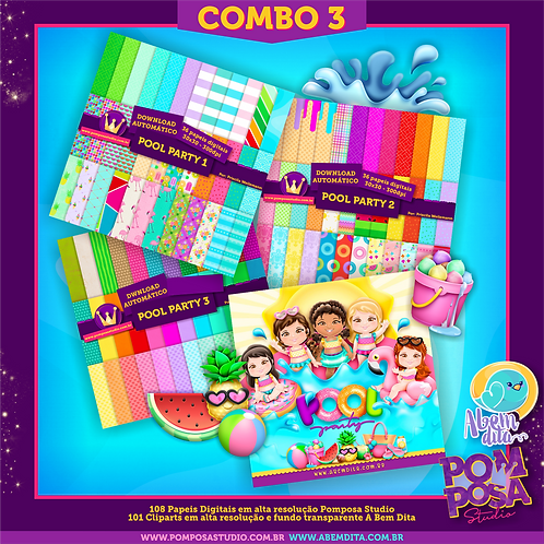 COMBO 3 Pool Paty • Cliparts + Papeis