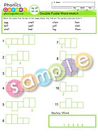 Word family ed eg ell em - Double Puzzle Word Match