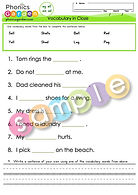 Word family ed eg ell em - Vocabulary in Cloze
