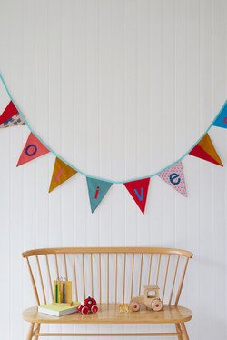 Olive bunting and chair