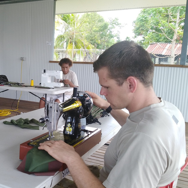 Captain Ben Crowhurst,a DCP member who is Helping to sew mask for troops as support to fight Covid 19