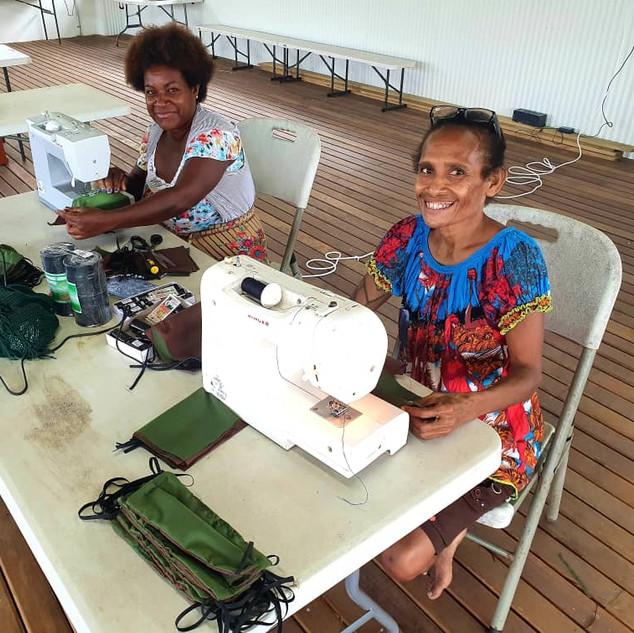 Mothers from Moem Barracks sewing masks