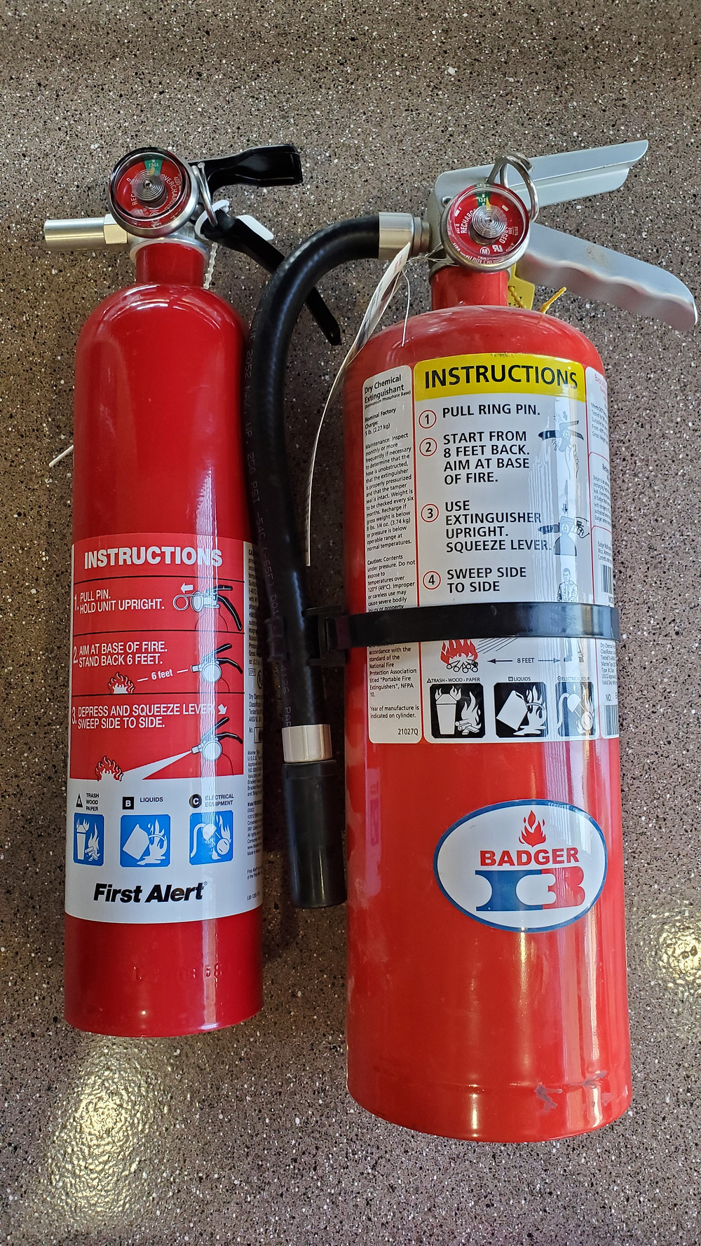 10 and 40 capacity rated fire extiguishers