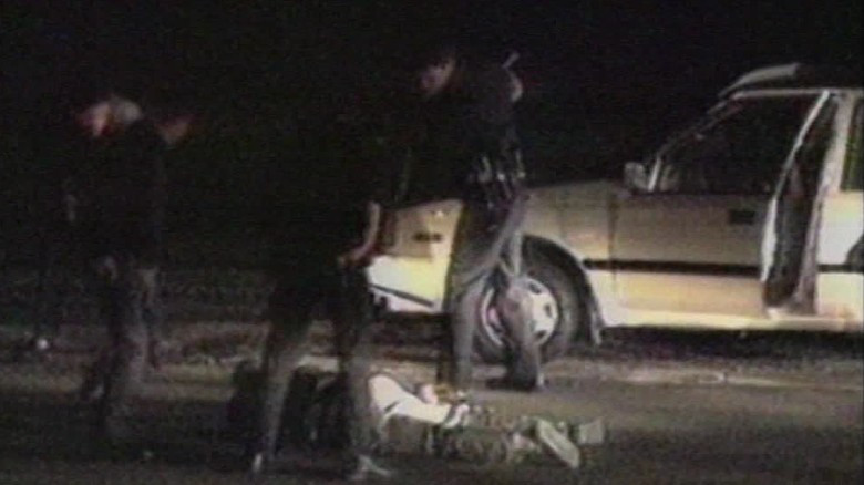 Police striking Rodney King with batons