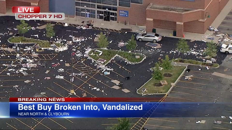Business looted and debris in parking lot.