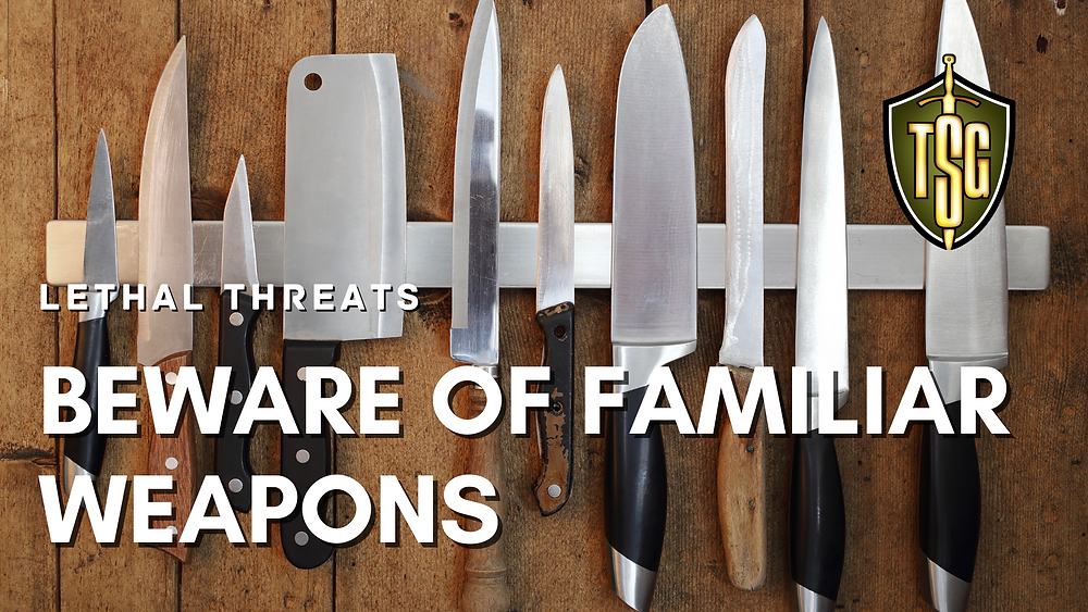 Row of common kitchen knives that can be deadly weapons in our self-defense