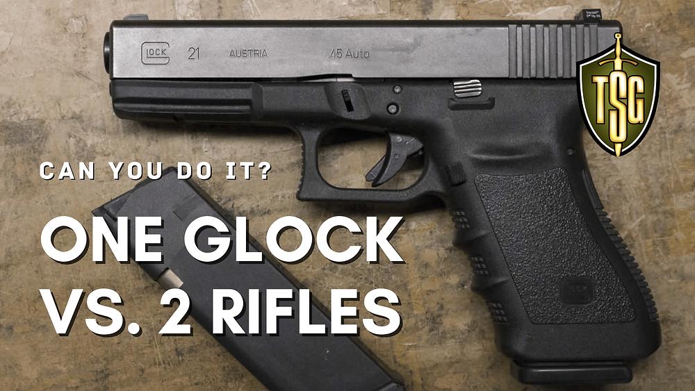 Glock 21 handgun with standard magazine