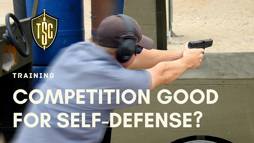 Shooter with a Glock 19 in an IDPA competition.
