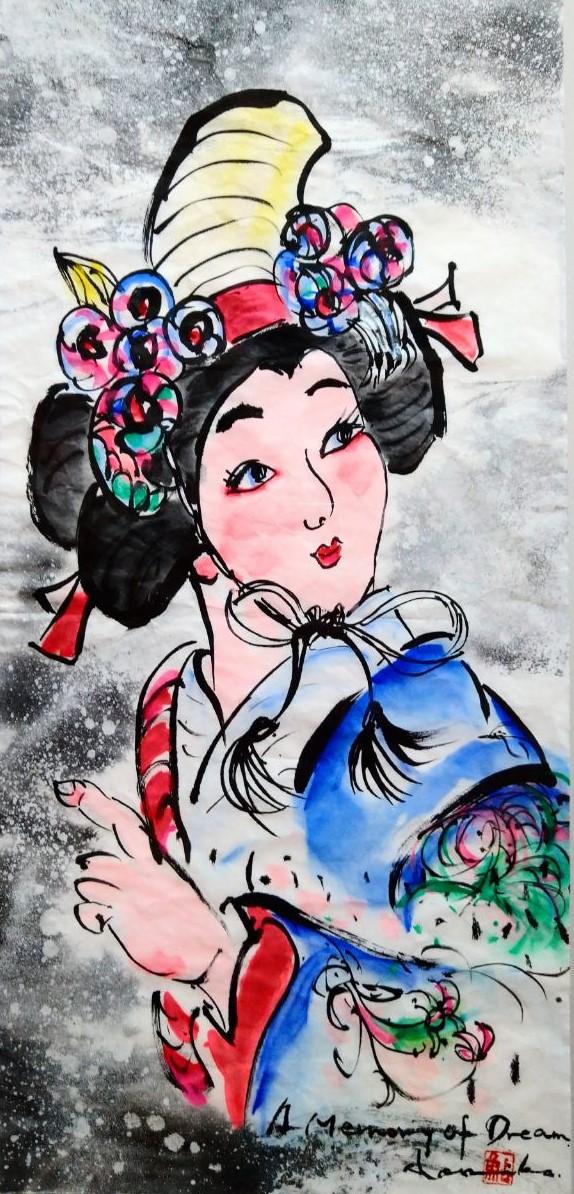 鮎澤のり子 墨彩画 変10