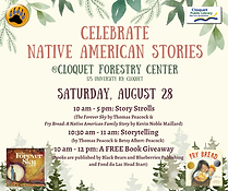 Celebrate Native American Stories at the Cloquet Forestry Center, located at 175 University Road, on Saturday, August 28, from 10 a.m. to 5 p.m. There will be story strolls, storytelling, and a free book giveaway.
