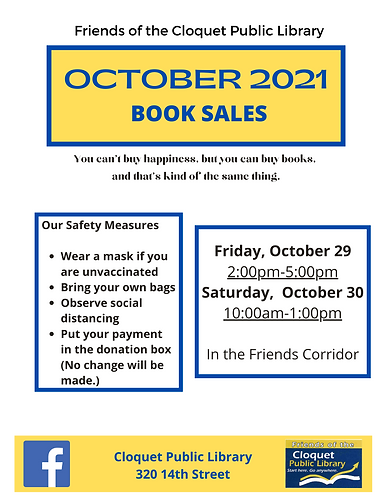 Friends of the Library Book Sale Friday, October 29, 2-5pm and Saturday, October 30, 10am-1pm