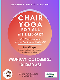 Chair Yoga for All Monday, October 25 from 10-10:30am