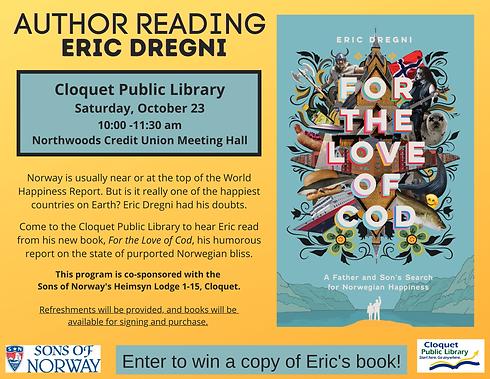 Author Reading Eric Dregni Saturday, October 23, 10-11:30am