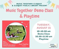 Music Together Demo Class and Playtime in Veterans Park on Tuesday, August 31, from 10 a.m. to 11:30 a.m.