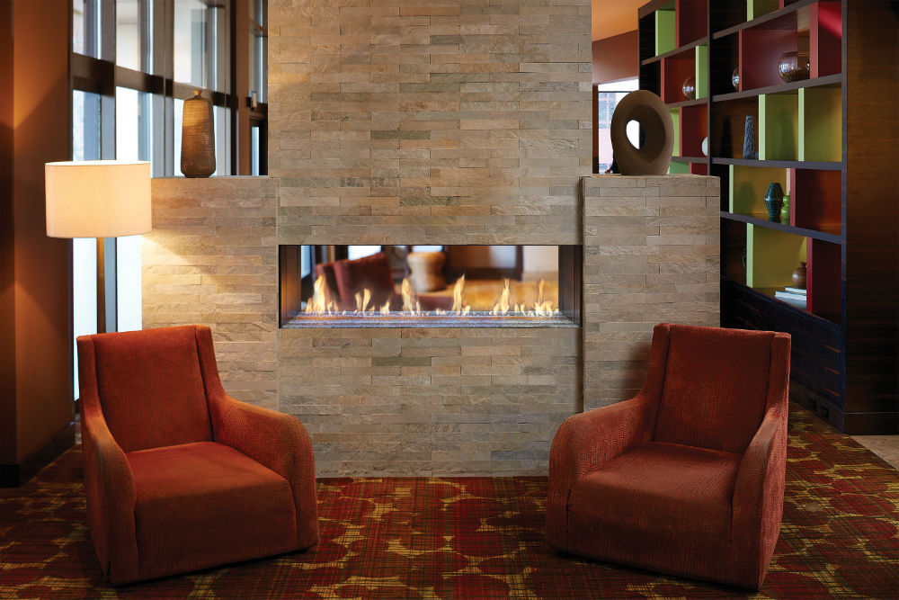 Crushed Glass Gas Fireplace