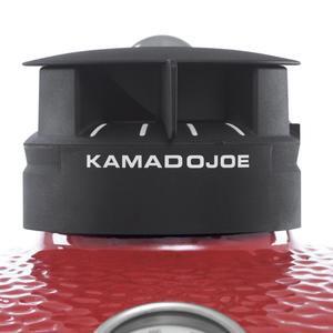 Black Kamado Joe steam vent on red grill