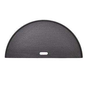 Black cast iron half-circle shaped griddle for Kamado Joe grill