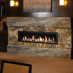 linear gas fireplace with stones