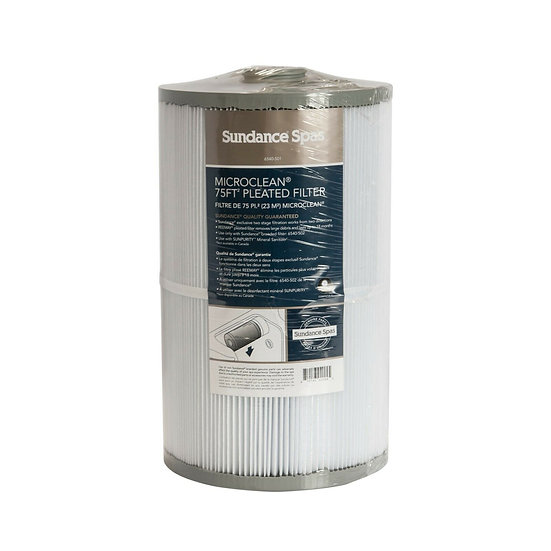 Cylindrical white Sundance Spa filter with grey top and grey bottom