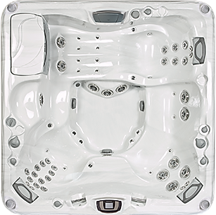 White and silver Cameo 880 Series sundance spa hot tub
