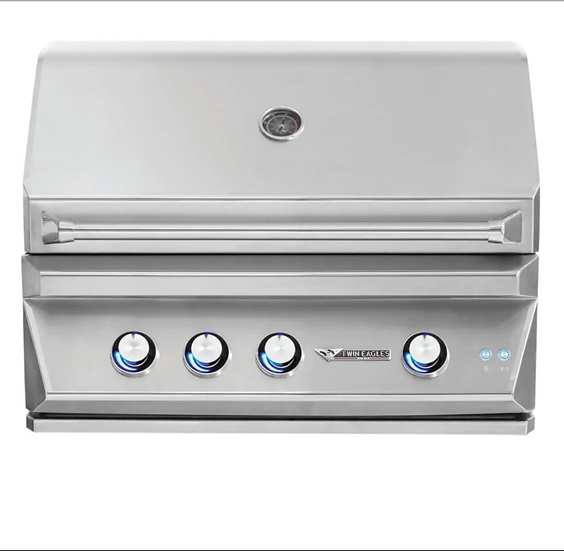 "36"" 3-Burner Built-In Natural Gas Grill with Infrared Rotisserie Burner"