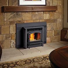 Stone pellet burning fireplace
