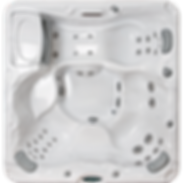 White marble and silver Sundance Spa series 780 Certa hot tub
