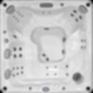 White marble and silver Sundance Spa 680 series Ramona hot tub